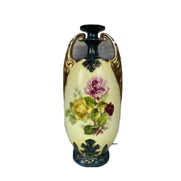 victoria austria vase Stamped Roses Teal Yellow